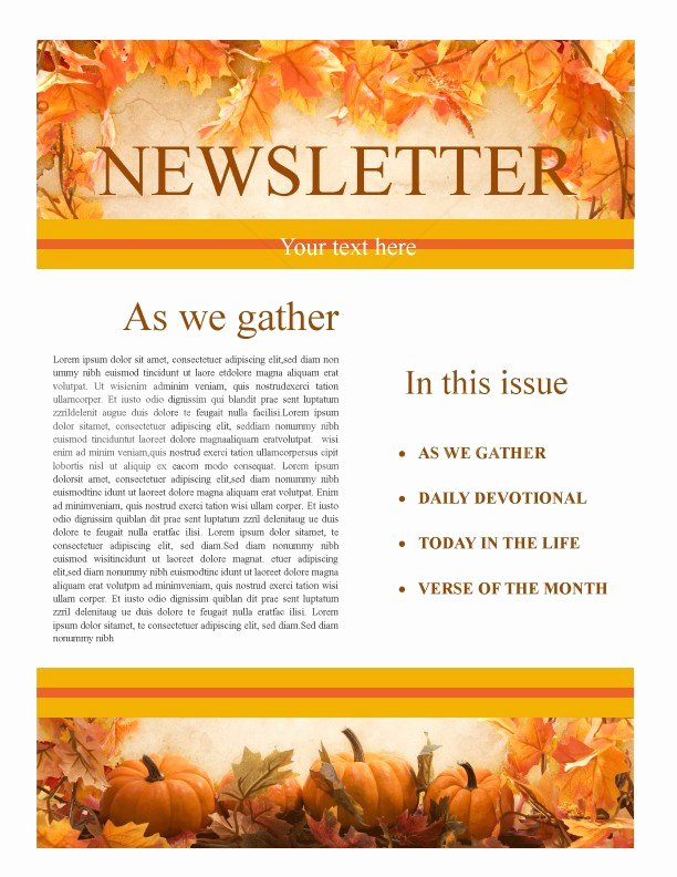 Free Thanksgiving Templates for Word New Thanksgiving Church Newsletter Template