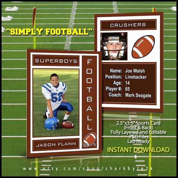 Free Trading Card Template Photoshop New 2019 Football Sports Trading Card Template for Shop