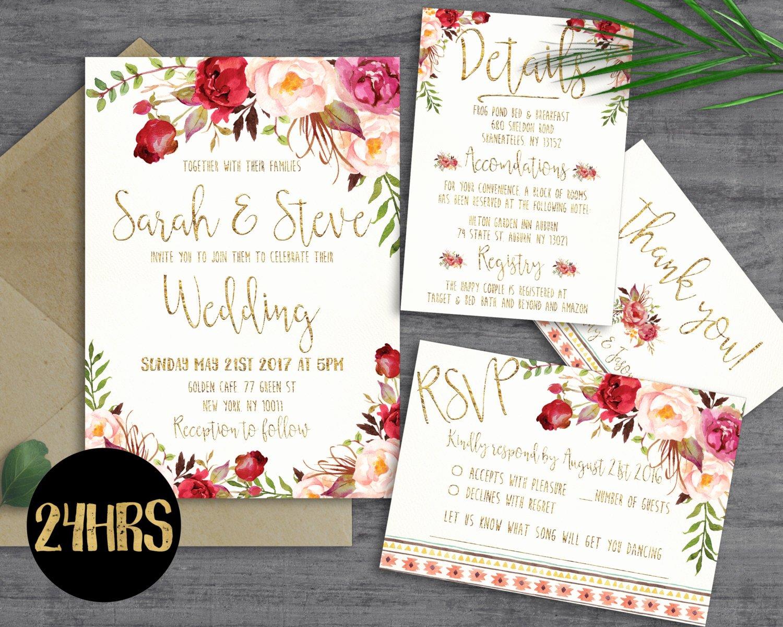 Free Wedding Invitation Printables Beautiful Printable Wedding Invitation Template by Sunnyprint