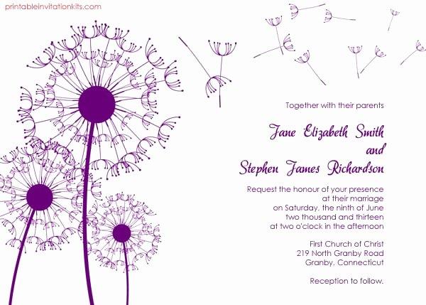 Free Wedding Invitation Printables Best Of Dandelion Wedding Invitation