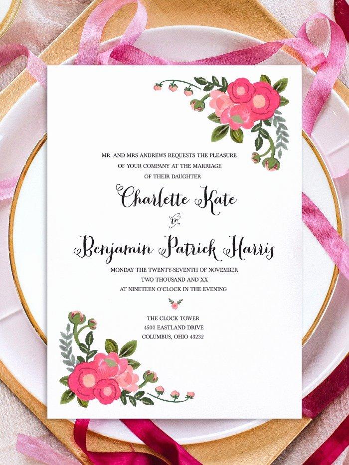 Free Wedding Invitation Printables Elegant Print Pink Flowers Free Printable Invitation Templates