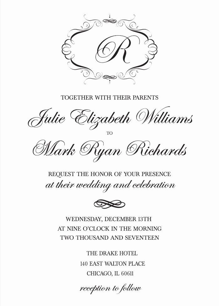 Free Wedding Invitation Printables Lovely Print Elegant Monogram Free Printable Wedding Invitations