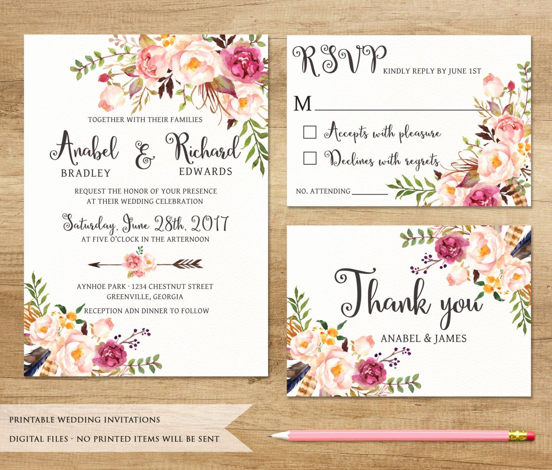 Free Wedding Invitation Printables Luxury Floral Wedding Invitation Printable Wedding Invitation