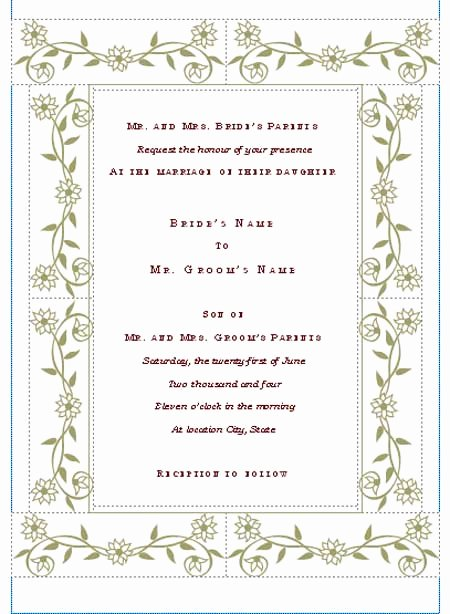 Free Wedding Invitations Printable Beautiful Free Printable Wedding Invitation Templates