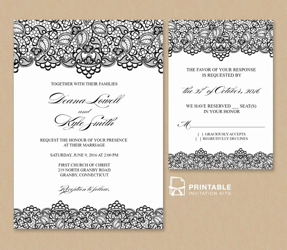 Free Wedding Invitations Printable Best Of Free Pdf Wedding Invitation Template Black Lace Vintage