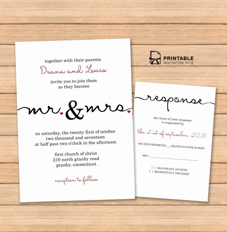 Free Wedding Invitations Printable Elegant Caligraphy Wedding Invitation