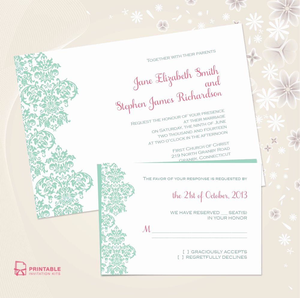 Free Wedding Invitations Printable Elegant Damask Border Wedding Invitation