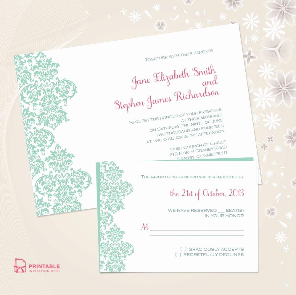 Free Wedding Invitations Printable Elegant Damask Border Wedding Invitation