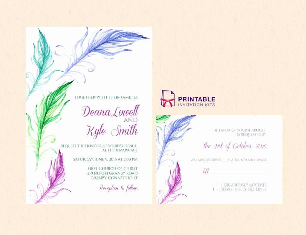 Free Wedding Invitations Printable Fresh Free Pdf Bright Feathers Wedding Invitation and Rsvp