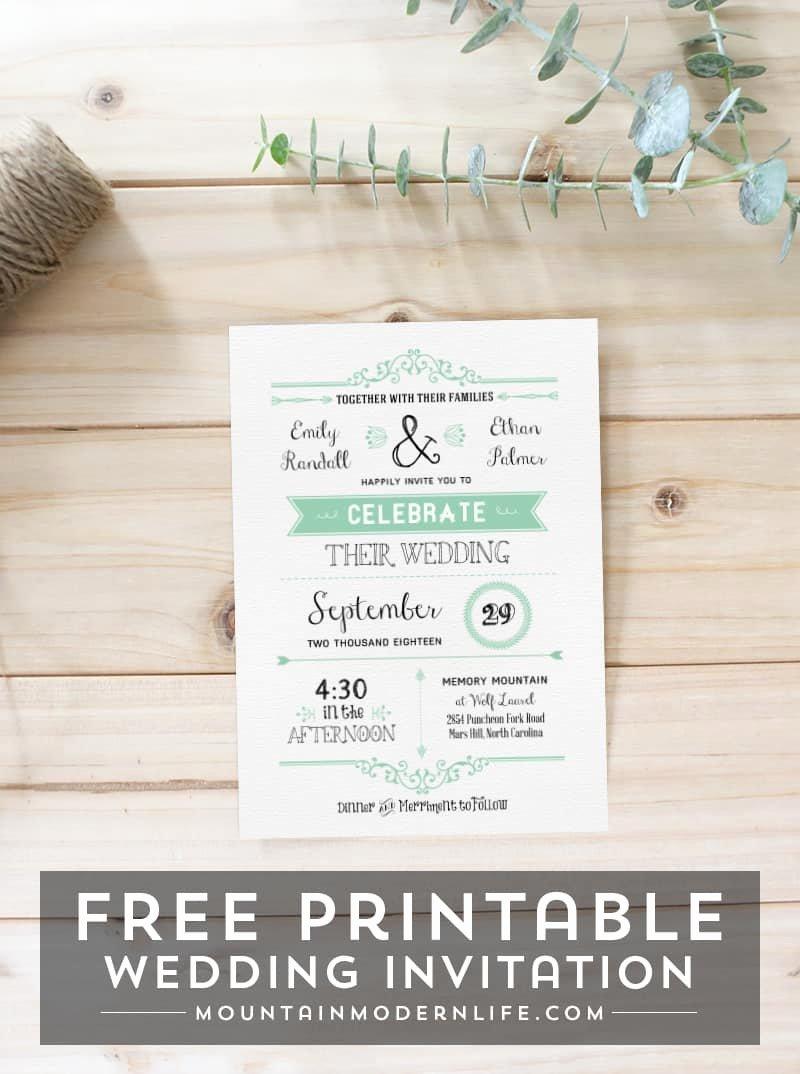 Free Wedding Invitations Printable New Free Wedding Invitation Template