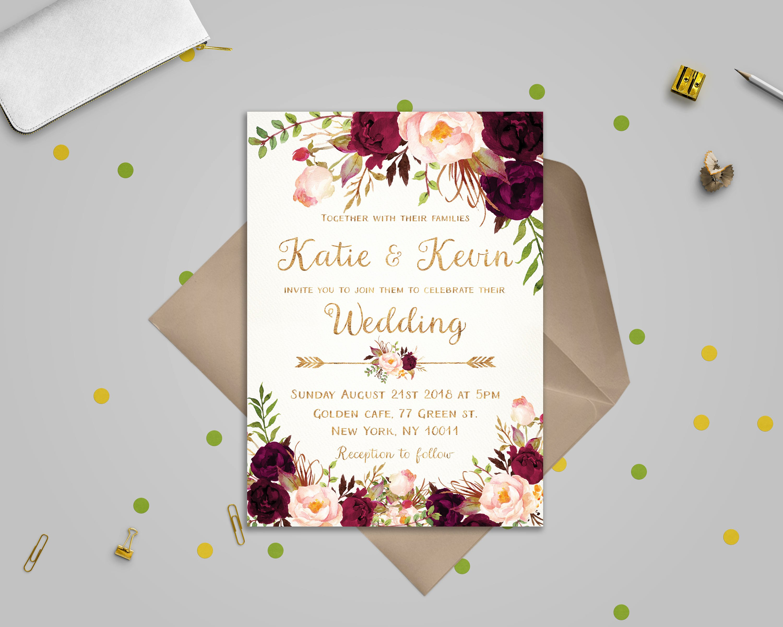 Free Wedding Invitations Printable Unique Floral Wedding Invitation Template Wedding Invitation