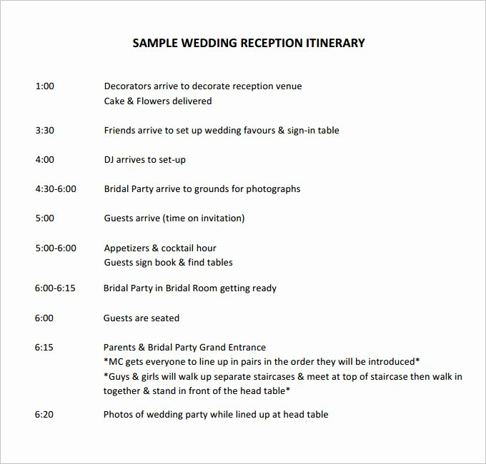 Free Wedding Itinerary Template Awesome Free Sample Wedding Programs Templates