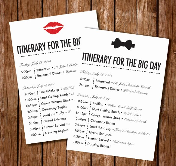 Free Wedding Itinerary Template Beautiful 44 Wedding Itinerary Templates Doc Pdf Psd