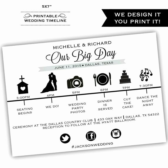 Free Wedding Itinerary Template Elegant Printable Wedding Timeline Printable by Classyprints Line