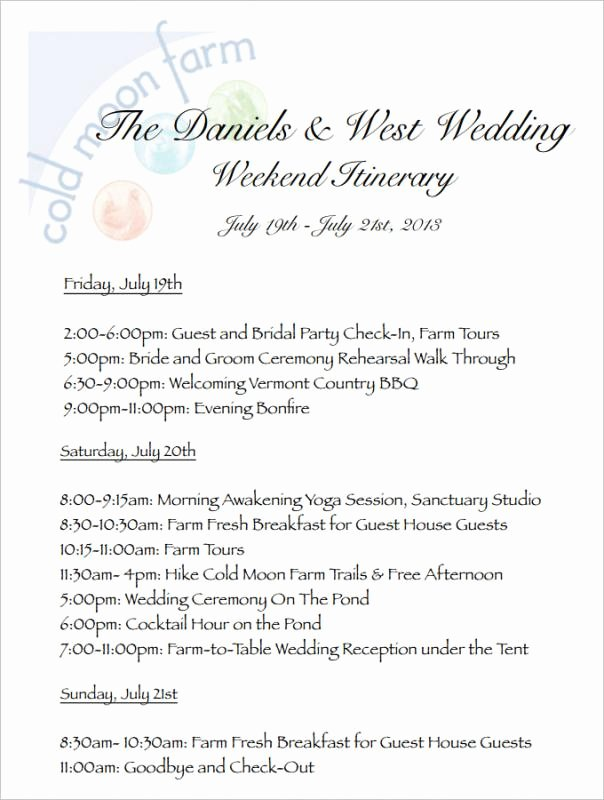 Free Wedding Itinerary Template Elegant Wedding Weekend Itinerary Template