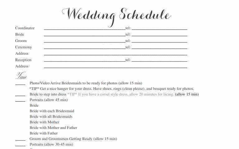 Free Wedding Itinerary Template Fresh Free Wedding Itinerary Templates and Timelines