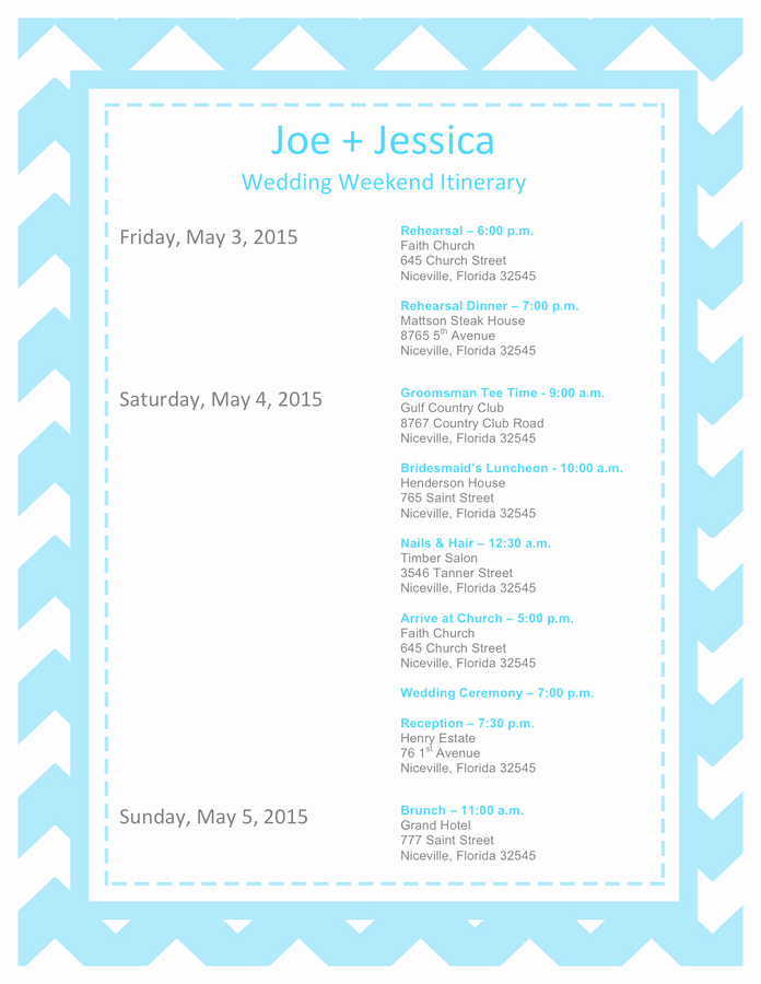 Free Wedding Itinerary Template Fresh Wedding Itinerary Template Free Documents for