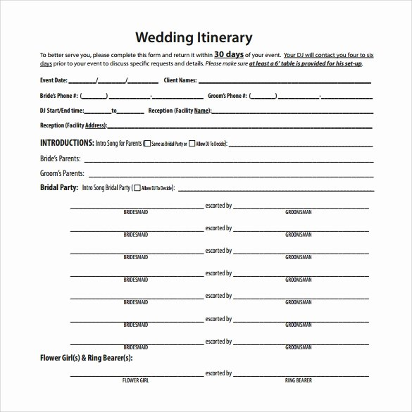 Free Wedding Itinerary Template Luxury Free 7 Wedding Itinerary Samples In Pdf Psd