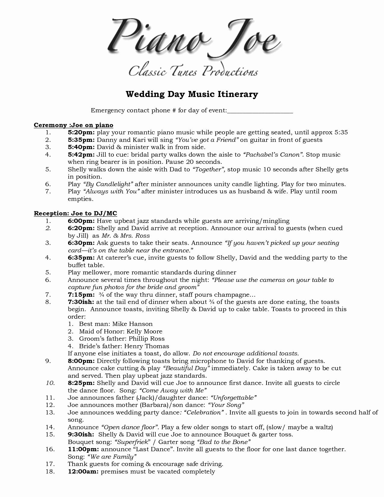 Free Wedding Itinerary Template Luxury Wedding Itinerary Templates Free 1275px