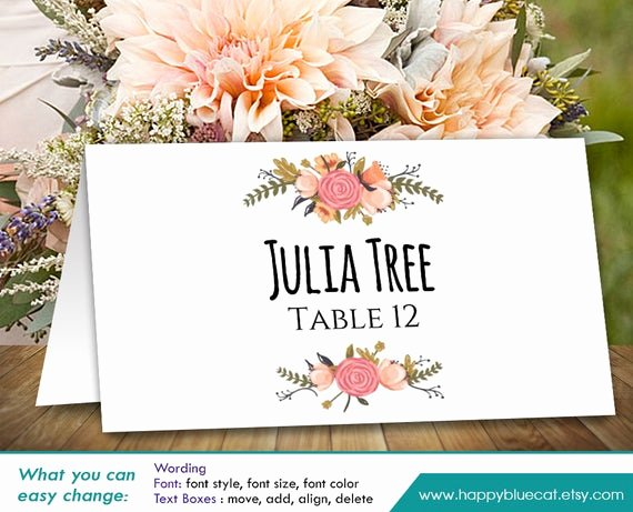 Free Wedding Place Cards Templates Unique Diy Printable Wedding Place Card Template Instant Download