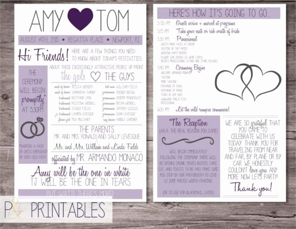 Free Wedding Programs Templates Awesome Wedding Program Template – 41 Free Word Pdf Psd