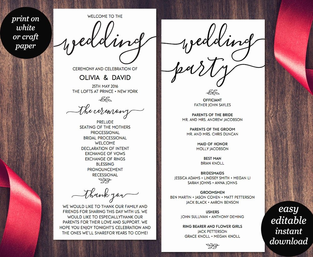 Free Wedding Programs Templates Awesome Wedding Program Template Printable Wedding Program Wedding