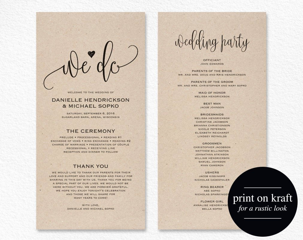 Free Wedding Programs Templates Awesome Wedding Program Template Wedding Program Printable We Do