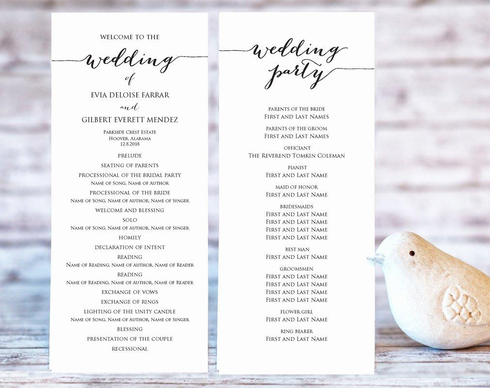 Free Wedding Programs Templates Beautiful Wedding Program Templates Ceremony Program Template Diy
