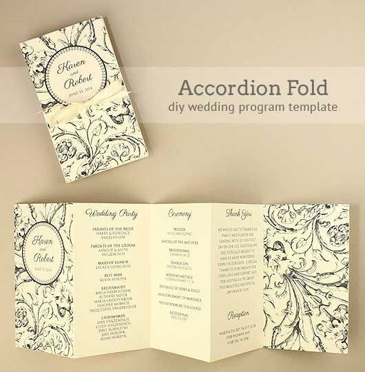 Free Wedding Programs Templates New Diy Accordion Wedding Program Free Template Project