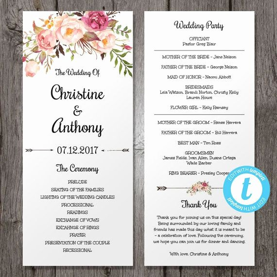 Free Wedding Programs Templates New Floral Bohemian Wedding Program Template Instant by