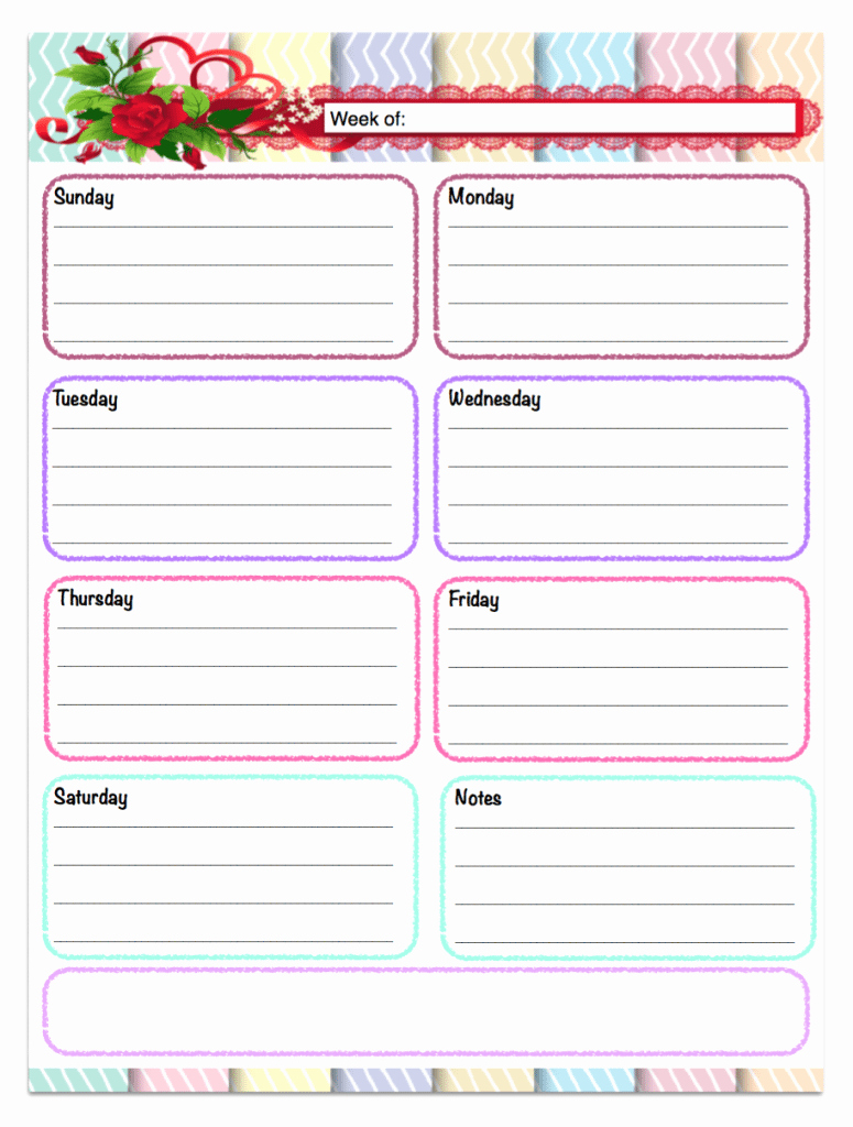free printable weekly calendars planners schedules