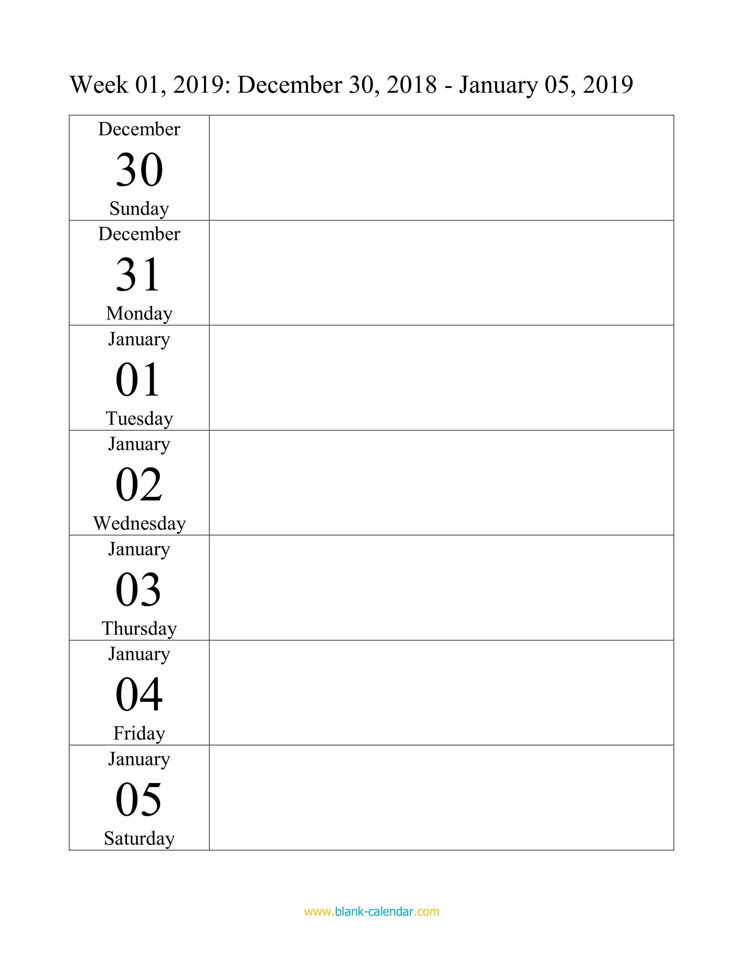 Free Weekly Printable Calendar Elegant Weekly Calendar 2019 Word Excel Pdf
