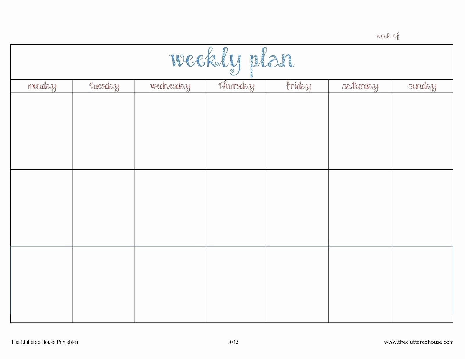 Free Weekly Printable Calendar Fresh 7 Day Weekly Planner Template Printable – Template