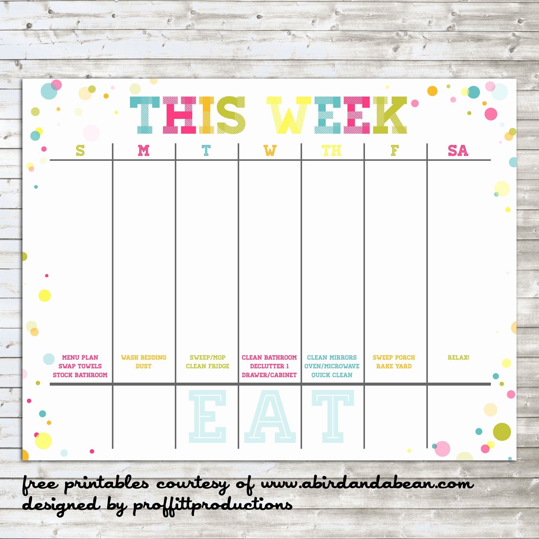 Free Weekly Printable Calendar Fresh Colorful Weekly Calendar Free Printable