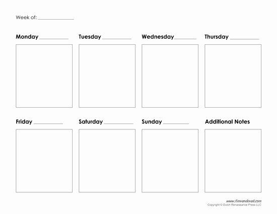Free Weekly Printable Calendar Fresh Printable Weekly Calendar Template Free Blank Pdf