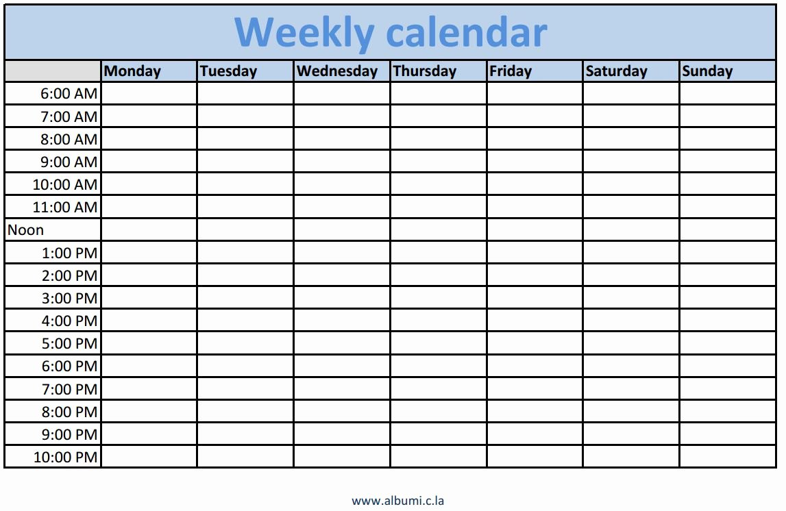 Free Weekly Printable Calendar New Weekly Calendars with Times Printable