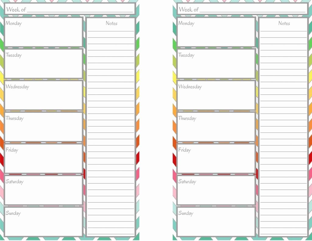 Free Weekly Printable Calendar Unique Free Printable Weekly Calendar Half Page
