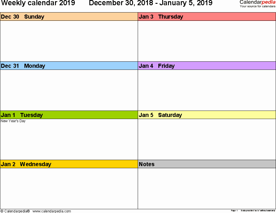 Free Weekly Printable Calendar Unique Weekly Calendar 2019 for Word 12 Free Printable Templates