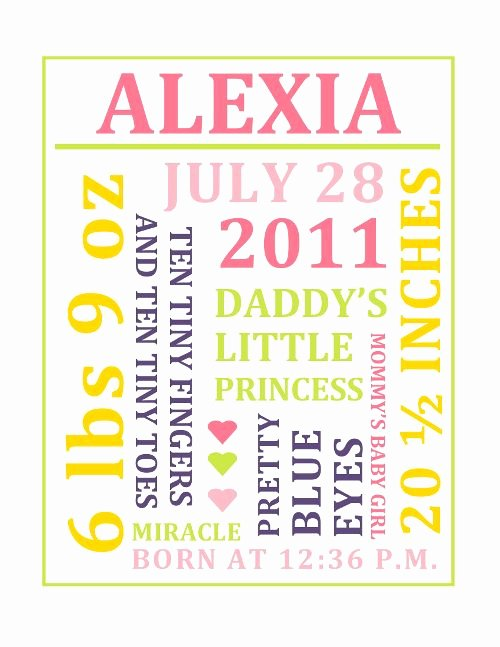Free Word Art Template Luxury Customizable Baby Girl Subway Art