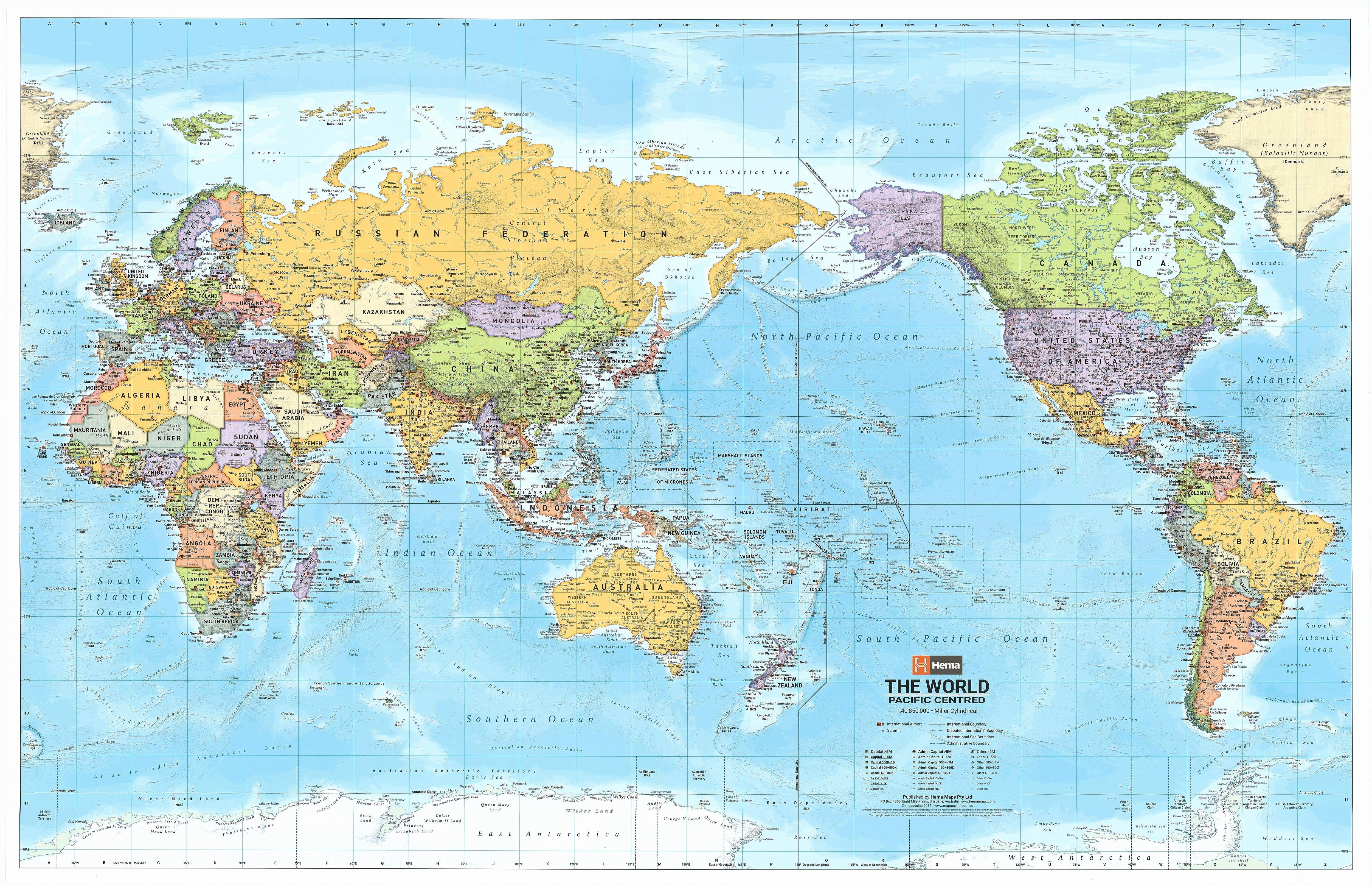 Free World Map Poster Beautiful World Hema Political Pacific Centred Laminated
