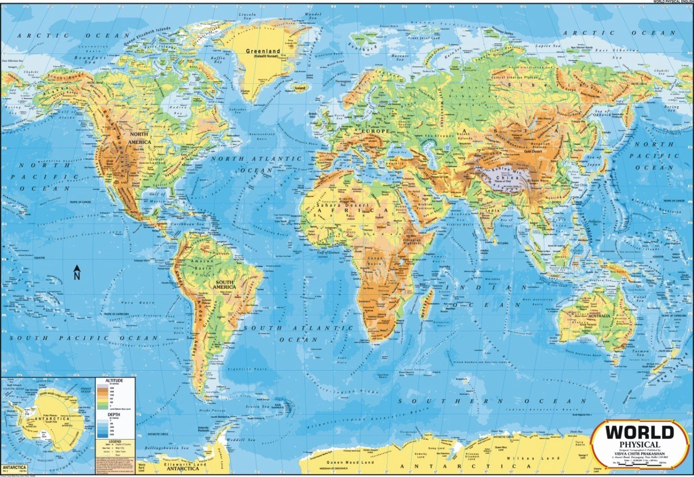 Free World Map Poster Beautiful World Map Physical Wall Chart Paper Print Maps
