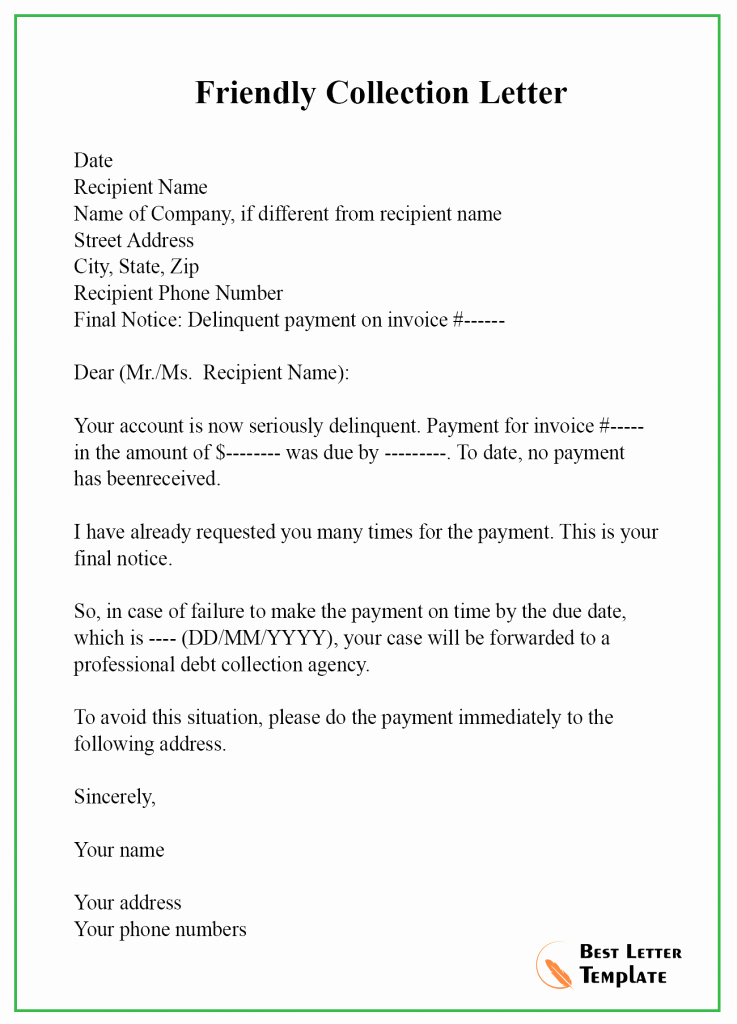 Friendly Collection Letter Sample Best Of 7 Free Collection Letter Template – format Sample & Example