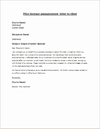 Friendly Rent Increase Letter Elegant Price Increase Announcement Letter to Client