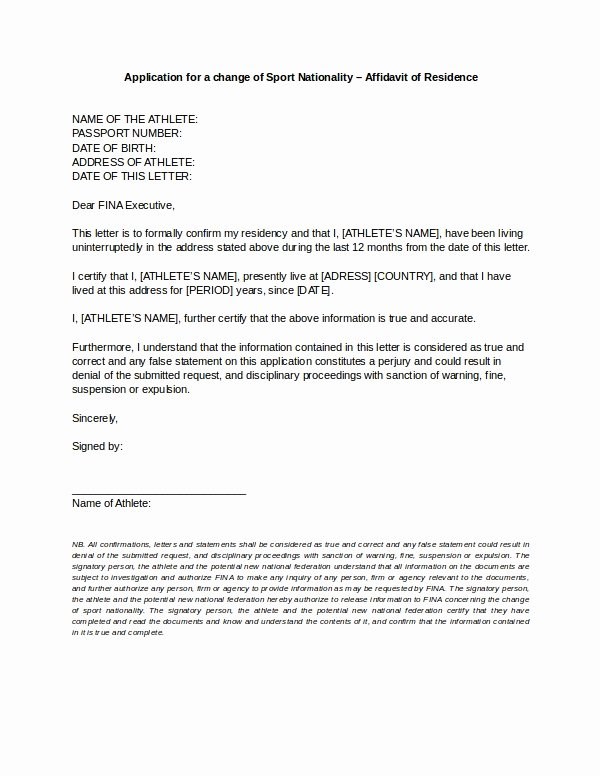 Friendly Rent Increase Letter Inspirational 9 Affidavit Of Residence form Examples Doc Pdf