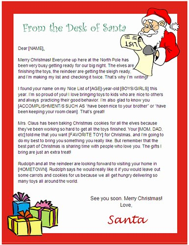 From the Desk Of Template Inspirational Santa Letters to Print at Home Santa Letter Templates