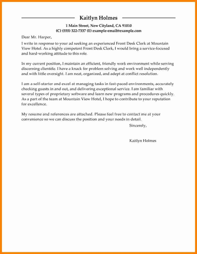 Front Office Cover Letter Awesome 8 Cover Letter for Billing Clerk