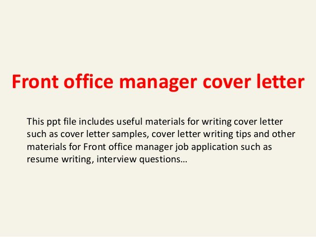 Front Office Cover Letter Awesome Front Office Manager Cover Letter