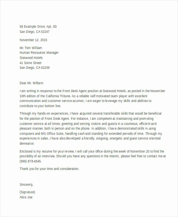 Front Office Cover Letter Luxury Front Desk Cover Letter 10 Free Word Pdf format