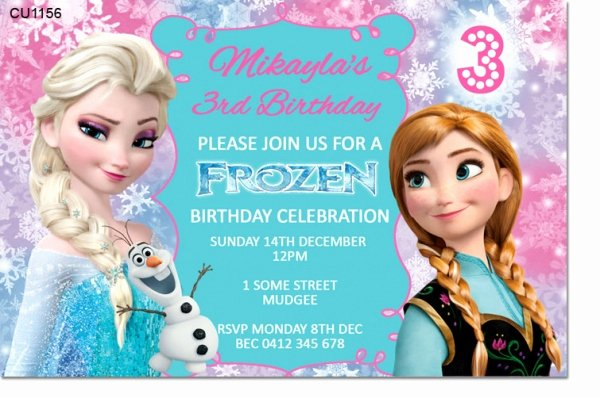 Frozen Baby Shower Invitations Lovely Cu1156 Frozen Birthday Invitation Template Girls