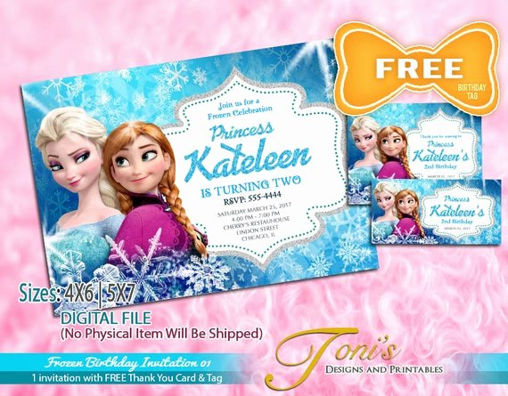 Frozen Birthday Card Printable Awesome Frozen Invitation Frozen Birthday Invitation Free Frozen